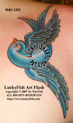 Dancing Bluebird Classic Tattoo Design 1