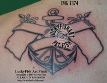 Anchored Flags Classic Tattoo Design 1