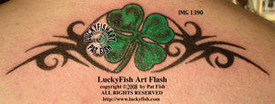 Four Leaf Clover Tribal Tattoo Design 1