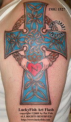 Devotional Claddagh Cross Celtic Tattoo Design 1