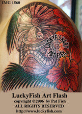 Angry Tiki Hawaiian Tattoo Design 1