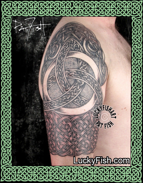 trinity half sleeve celtic tattoo design luckyfish art. Black Bedroom Furniture Sets. Home Design Ideas