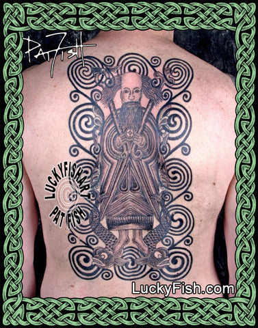St Brendan in the Waves Irish Celtic Tattoo Design