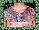 Celtic Animal Tangle Chest Tattoo Designs