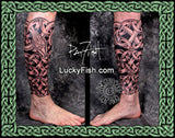 Celtic Dragon Serpent Leg Tattoo Design 3