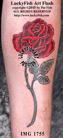 Long Stem Rose Tattoo Design