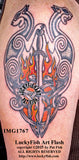 Flaming Celtic Sword Cats Tattoo Design