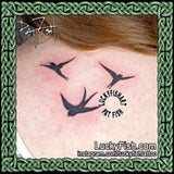 Swallows Dancing Tattoo Design