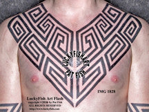 Pictish Tribal Key Chest Plates Tattoo Design