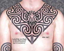 Pictish Tribal Spiral Chest Plates Tattoo Design