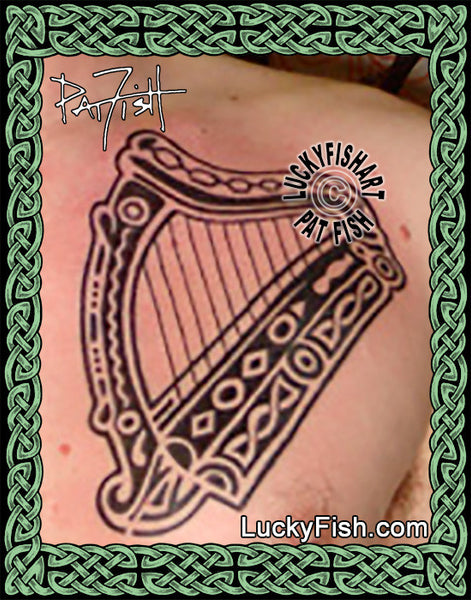 Tribal Irish Harp Tattoo Design Luckyfish Art