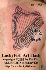 Tribal Irish Harp Tattoo Design