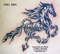 Flame Horse Tattoo Design