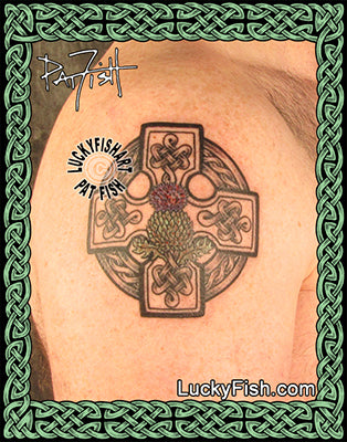 Scots thistle Celtic cross tattoo design
