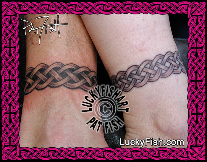 Wedding Band Pair Celtic Anklet Tattoo Design