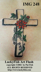 Passion Flower Cross Christian Tattoo Design 1