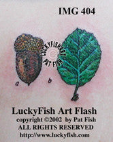 Oak Acorn and Leaf Tattoo Design 1