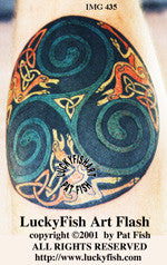 Howling Wolves Celtic Tattoo Design 1