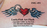 With Love the Heart Has Wings Tribal Tattoo Design 2