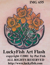 Daffodils Celtic Welsh Tattoo Design 1