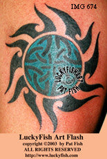 Unblocked Sun Celtic Tribal Tattoo Design 1