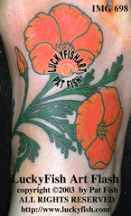 California Poppies Flower Tattoo Design 1