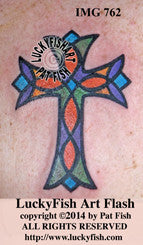 Stained Glass Cross Christian Tattoo Design 1