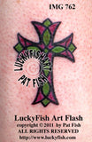 Stained Glass Cross Christian Tattoo Design 3