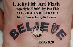 Believe Irish Tattoo Design 1