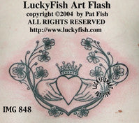 Shamrock Claddagh Celtic Tattoo Design 1