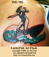Surfer Girl Tattoo Design 1