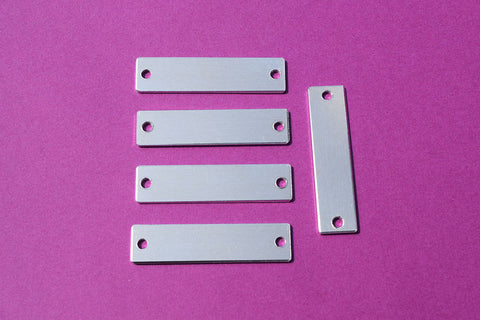 "14G Aluminum Rectangle Stamping Blanks with Two Holes - 2"" x 1/2"""
