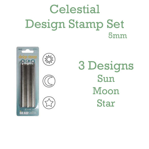 Celestial Metal Design Stamp Set 5mm - Set of 3