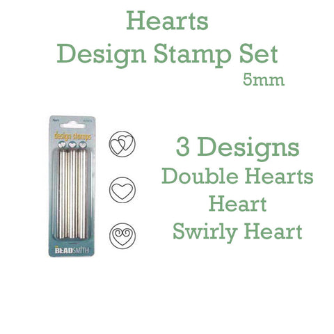 Hearts Metal Design Stamp Set 5mm - Set of 3