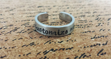 Custom Personalized Hand Stamped Aluminum Adjustable Ring