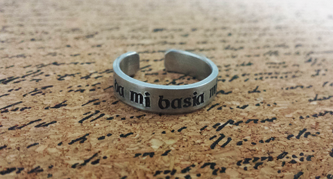 Da Mi Basia Mille -  Outlander Inspired Aluminum Adjustable Ring