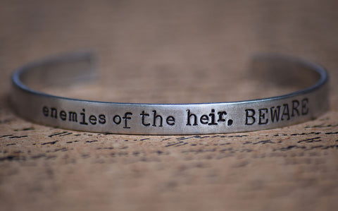 Enemies of the Heir BEWARE - Harry Potter Inspired Aluminum Bracelet Cuff
