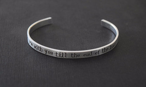 I'm with you till the end of the line - Captain America Inspired Aluminum Bracelet Cuff