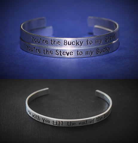 Steve Rogers - Bucky Barnes - I'm With You to the End of the Line - Captain America Cuff Set of 4