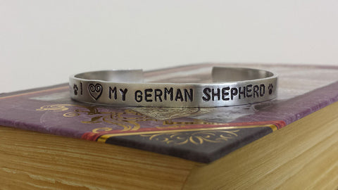 I Love my German Shepherd - Dog Lover Aluminum Bracelet Cuff