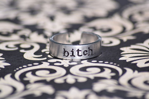 Bitch - Supernatural Inspired Aluminum Adjustable Ring