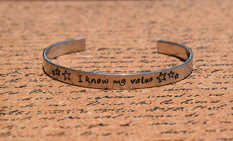 I Know My Value - Agent Carter Inspired Aluminum Bracelet Cuff