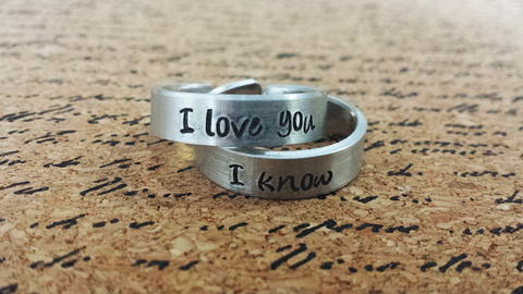 I Love You - I Know -  Star Wars Inspired Aluminum Adjustable Rings