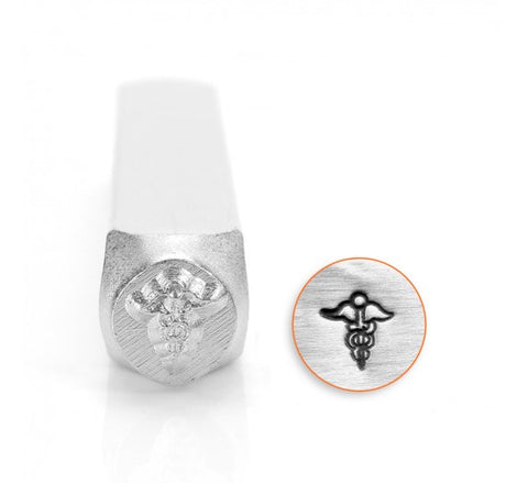 Caduceus Medical Symbol Metal Design Stamp 6mm