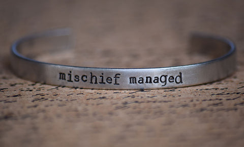 Mischief Managed - Harry Potter Inspired Aluminum Bracelet Cuff