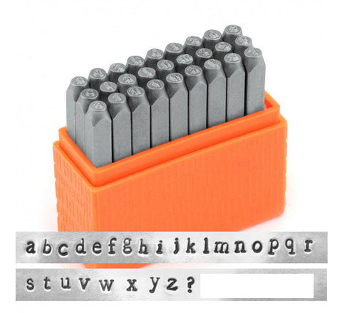 Newsprint Lowercase 3mm Basic Alphabet Letter Metal Stamp Set