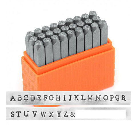 Newsprint Uppercase 3mm Basic Alphabet Letter Metal Stamp Set
