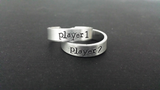 Player 1 - Player 2 - Gaming Inspired Aluminum Adjustable Rings