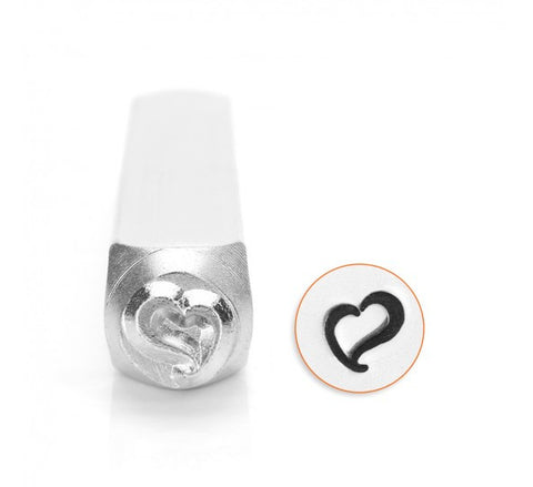 Swirly Heart Metal Design Stamp 6mm