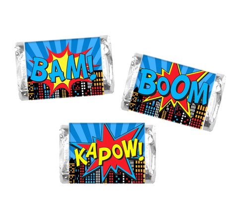 Comic Book Mini Candy Bar Wrappers-Mini Candy Bar Wrapper-Cathy's Creations - www.candywrappershop.com